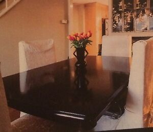 Dinning table black solid wood and chairs