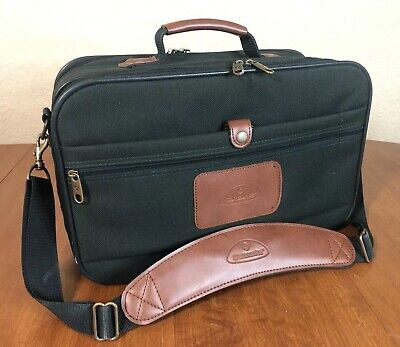 SAMSONITE Green Canvas & Brown Leather Carry On Shoulder Messanger Bag Luggage