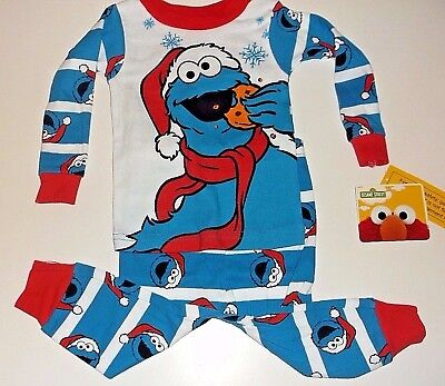 New Cookie Monster Christmas holiday baby Toddler boys pajamas 9M 12M 18M - Holiday Toddler Pajamas