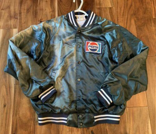 Vintage Pepsi Employee Blue Satin Boomer Jacket  ~Size Medium 38-40~ 1980's
