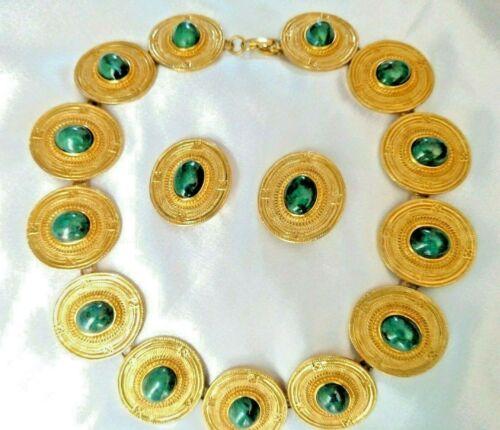 CCORI PERU Designer Necklace & Clip Earring Set Gold tone Green Cabochons Signed