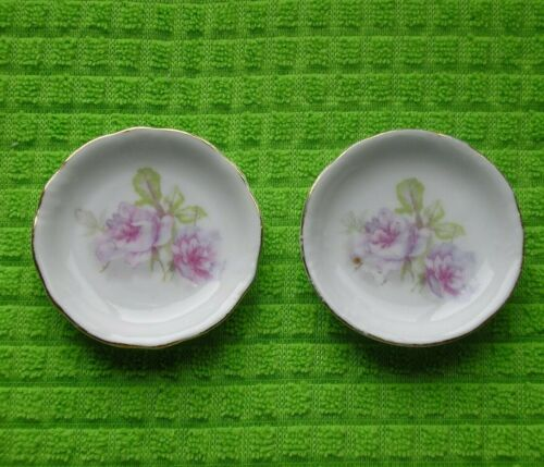 Pair of Antique Butter Pats - Germany - Lavender Floral, Gold Edge
