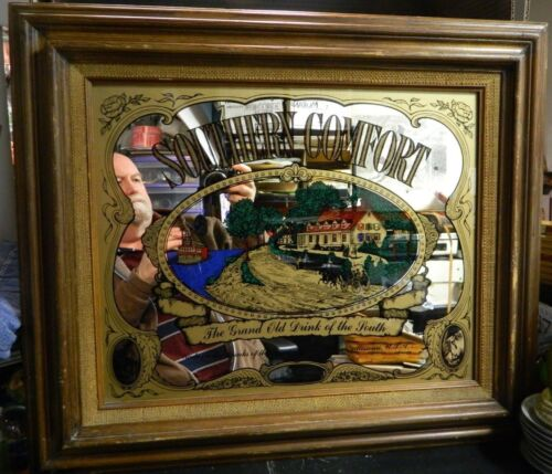 Vintage Framed Southern Comfort The Grand Old Drink Of The South Bar Mirror Good
