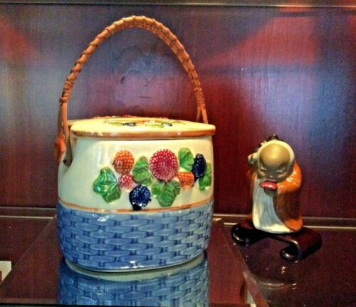 ANTIQUE BISCUIT JAR MAJOLICA blue hallmark WITH RATTAN HANDLE NICE PATINA