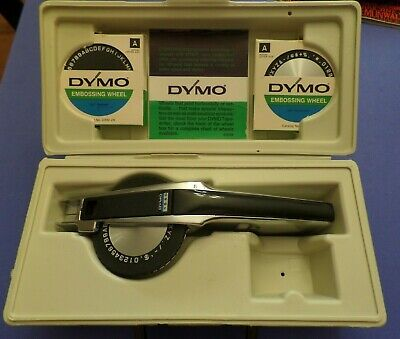 Vintage Dymo Deluxe Tapewriter 1550 Label Maker Case 2extra Embossing Wheels