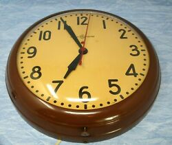 Vintage Wall Clock Large Metal Industrial School General Electric red dot 14.75