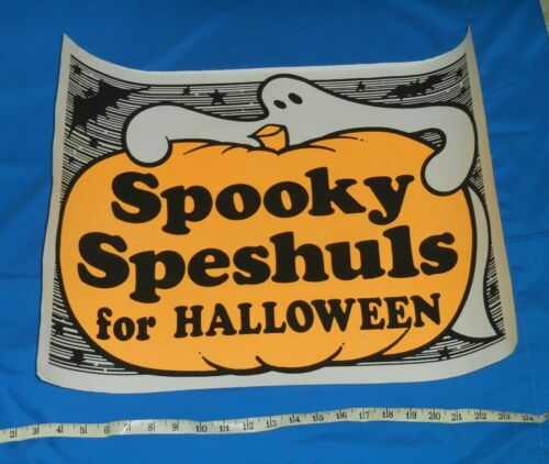 """vintage HALLOWEEN """"SPOOKY SPESHULS"""" retail store display sign poster"""