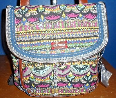 NWT! sakroots Charcoal One World Convertable Backpack Crossbody Bag RARE RETIRED
