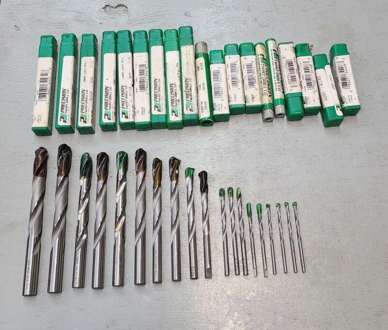 """NOS 19PC. Precision Twist Jobber Length Drill Bits Carbide Tip, 1/2"""", 7/16"""", Etc"""