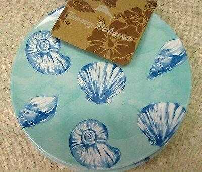 Shell Appetizer - TOMMY BAHAMA NAUTICAL BLUE SEA SHELL APPETIZER PLATES COASTAL MELAMINE Set 4