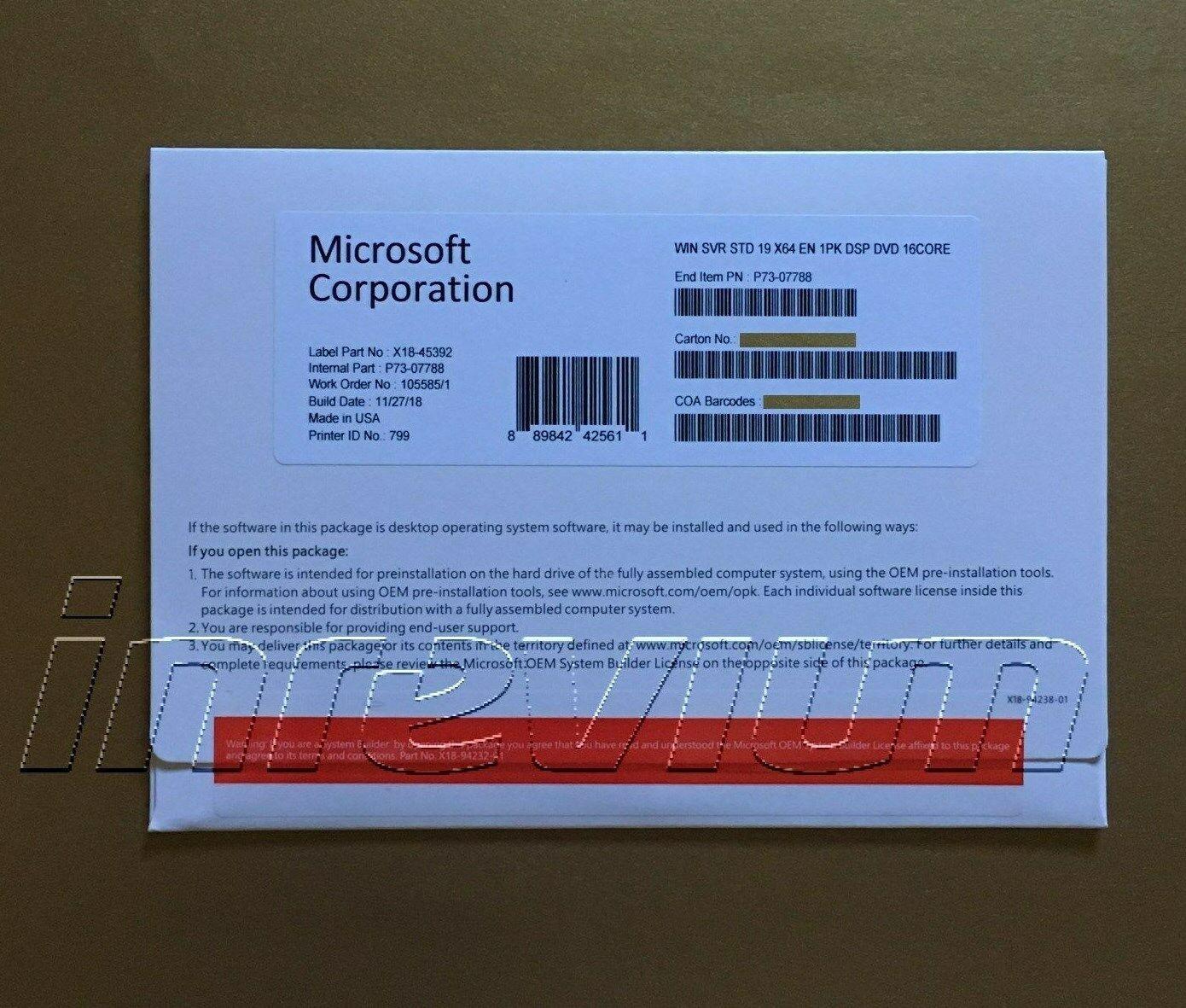 Windows Server Standard 2019- 16 Cores Full License Brand New  - $89.99