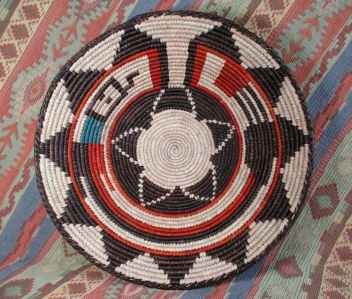 Southwestern Style Basket   Colorful Rattle Snake on Perimeter approx 13 inches