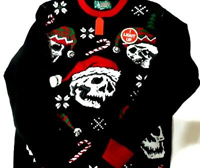 Ugly Christmas Sweater Santa Hat Sculls Lights Up Sz. Med NWT...see photos ()