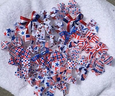 30 MED Patriotic July 4th Dog Bows  Grooming Bows Top Quality ribbons Handmade