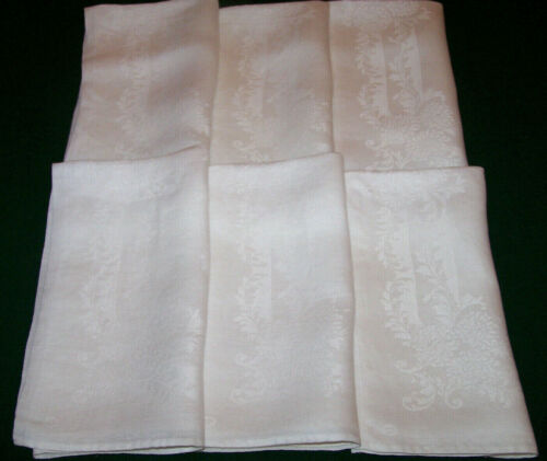 "6 VINTAGE IRISH LINEN DAMASK NAPKINS, LAPKINS, 21"", FLORL DESIGN SNOW WHITE 1940"