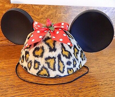 Disney Mickey Mouse Ears Hat Leopard Print Faux Fur Red Polka Dot Bow Adult size - Leopard Mickey Mouse Ears