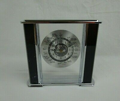 Rhythm Watch Co. Quartz World Clock Mantel Desk ~ Black Marble & Chrome Frame