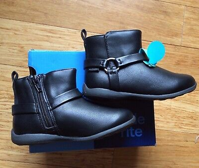 NEW $45 Stride Rite toddler kids girls Made 2 Play black boots shoes washable