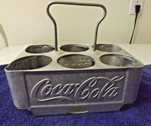 Vintage Coca-Cola Metal 6 Pack Carrying Holder Aluminum Case