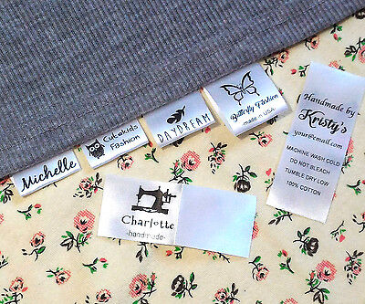 (30x Custom clothes name label sew in hanging tag garment school Personalized )
