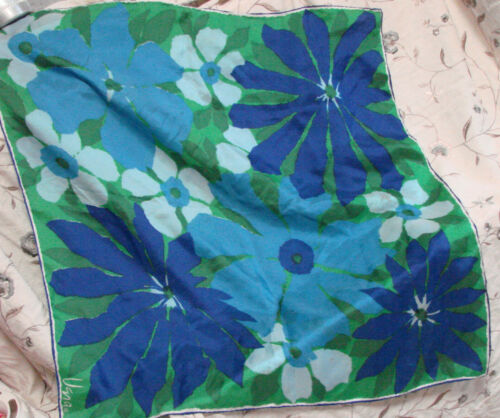"""Vintage 60s Vera Scarf Silk Rayon Japan Hand Rolled BLUE Green floral 27x26"""""""