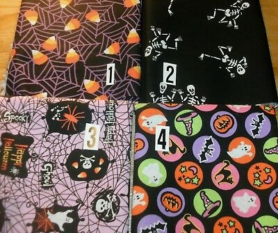 FQ Halloween Fabric U Pick Candy Corn Spider Webs Skeltons Cats Bats Fat Quarter