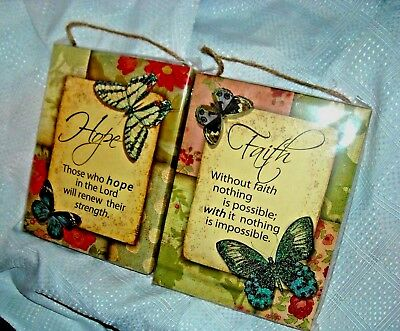 2 - Wall Art FAITH and HOPE Spiritual Christian Hangings Butterflies Flowers ()