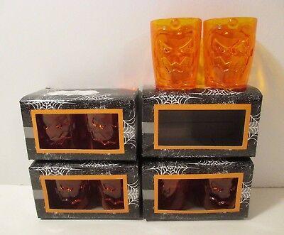 Lot of 8 NIP Orange Plastic Halloween Pumpkin Shot Glasses~4 - Halloween Shot Glasses Plastic
