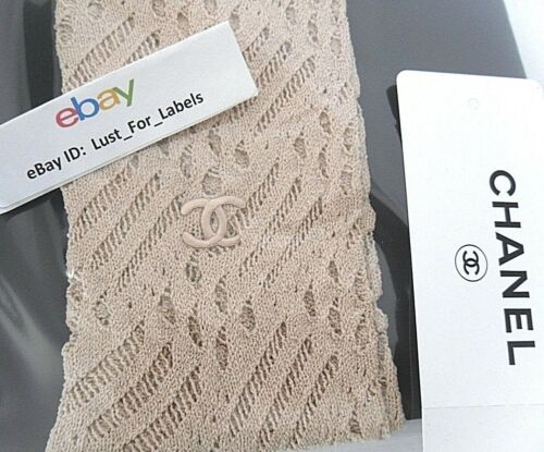 CHANEL Nude Runway Neutral CC Tights Large Hosiery Data Center Stockings NEW