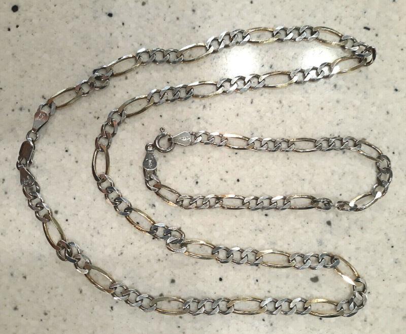 VINTAGE SILVER 925 FAS STAMP/ NECKLACE & BRACELET/ MADE IN ITALY w/ MAKER'S MARK
