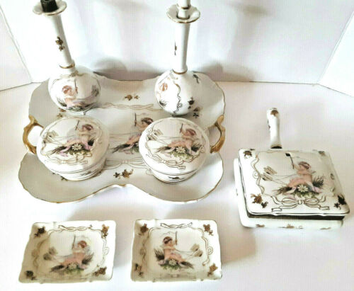 VANITY LENWILE ARDALT SET OF 8 PORCELAIN HAND PAINTED DRESSER TOP CHERUBS SET