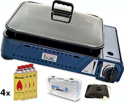 Deluxe tragbarer Gasgrill mit Grillpfanne mit Glasdeckel 2,1KW +4x