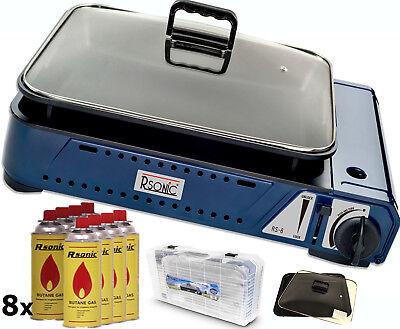 Deluxe tragbarer Gasgrill 2,1KW mit Grillpfanne mit Glasdeckel +8x