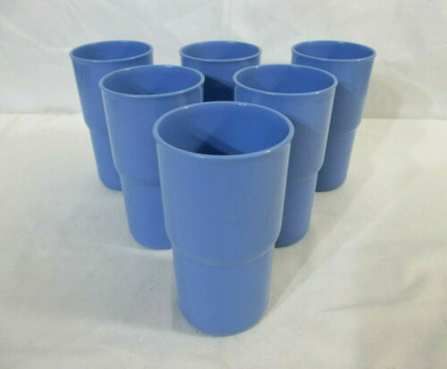 Tupperware Set of 6 True Blue 12 oz Tabletop Stacking Tumblers