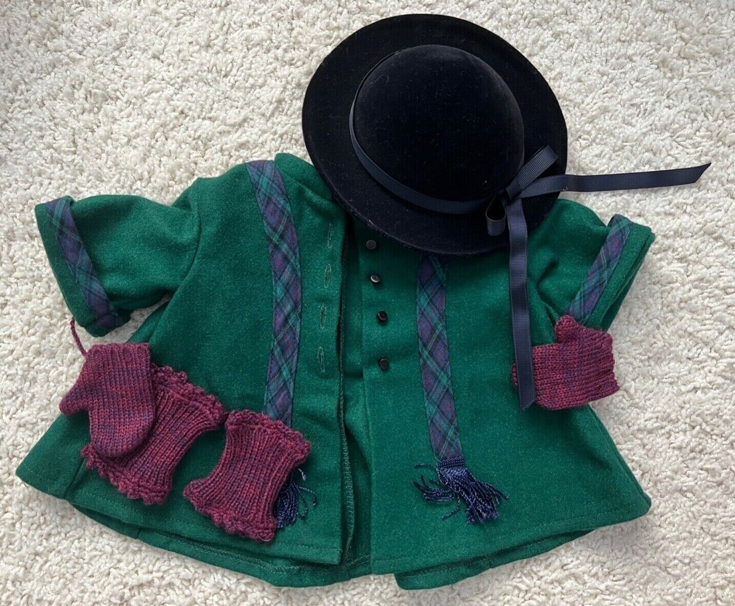 American Girl Doll Addy Winter Coat And Derby, Mittens, Knee Warmers NIB Retired - $80.00