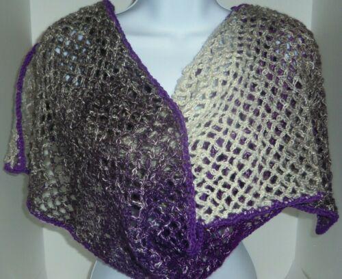 Purple 100in handmade crochet cotton & acrylic shawl scarf with chopstick EBSH1