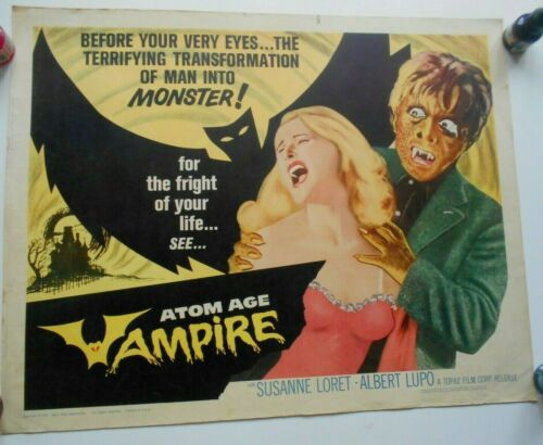 Atom Age Vampire half-sheet movie poster Italian famous horror monsters