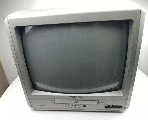 "Magnavox MWC13D6 13"" CRT TV DVD Combo Front A/V Input Retro Gaming TESTED"