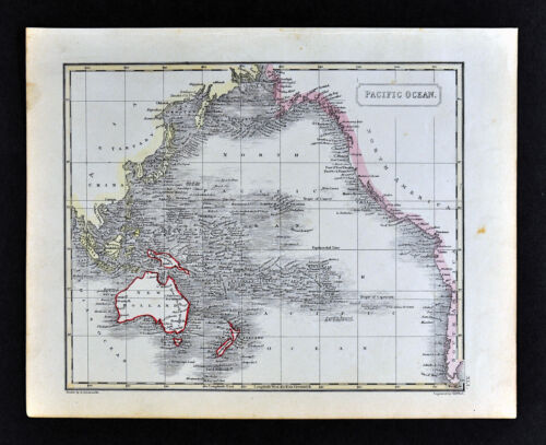 1836 Arrowsmith Map Pacific Ocean Australia New Zealand Hawaii America Oceania