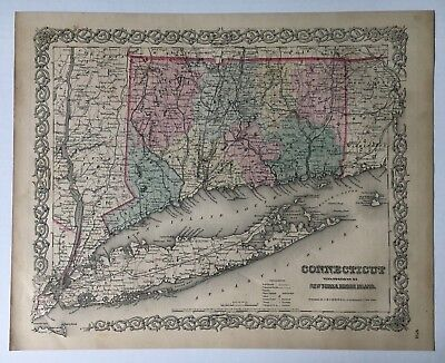 Vintage Original c.1855 J.H. Colton Map Connecticut With Portions of NY and RI