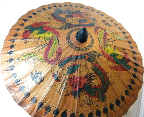 Bamboo Parasol hand painted on heavy paper Victorian Edwardian vintage style