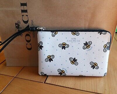 Coach Bee Zip wristlet purse or bag white / black Brand New with tags