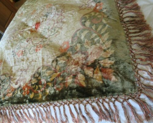"""ANTIQUE CRUSHED VELVET EMBROIDERED FLORAL PIANO SCARF, SHAWL, THROW, 56"""" SQ"""