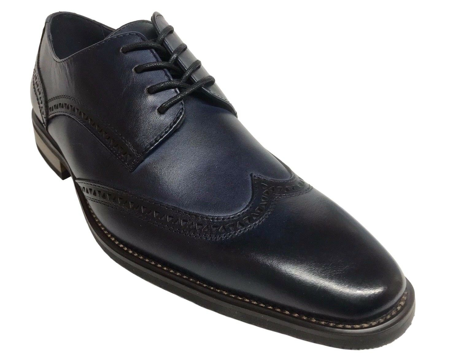 La Milano Men's Oxford Wing Tip Navy Leather Dress Shoes A11577