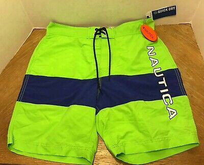 NWT Mens Nautica Quick Dry Logo Swim Trunks Board Shorts M Lime Green Blue
