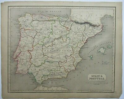 Antique Map of Spain and Portugal by William & Robert Chambers 1845