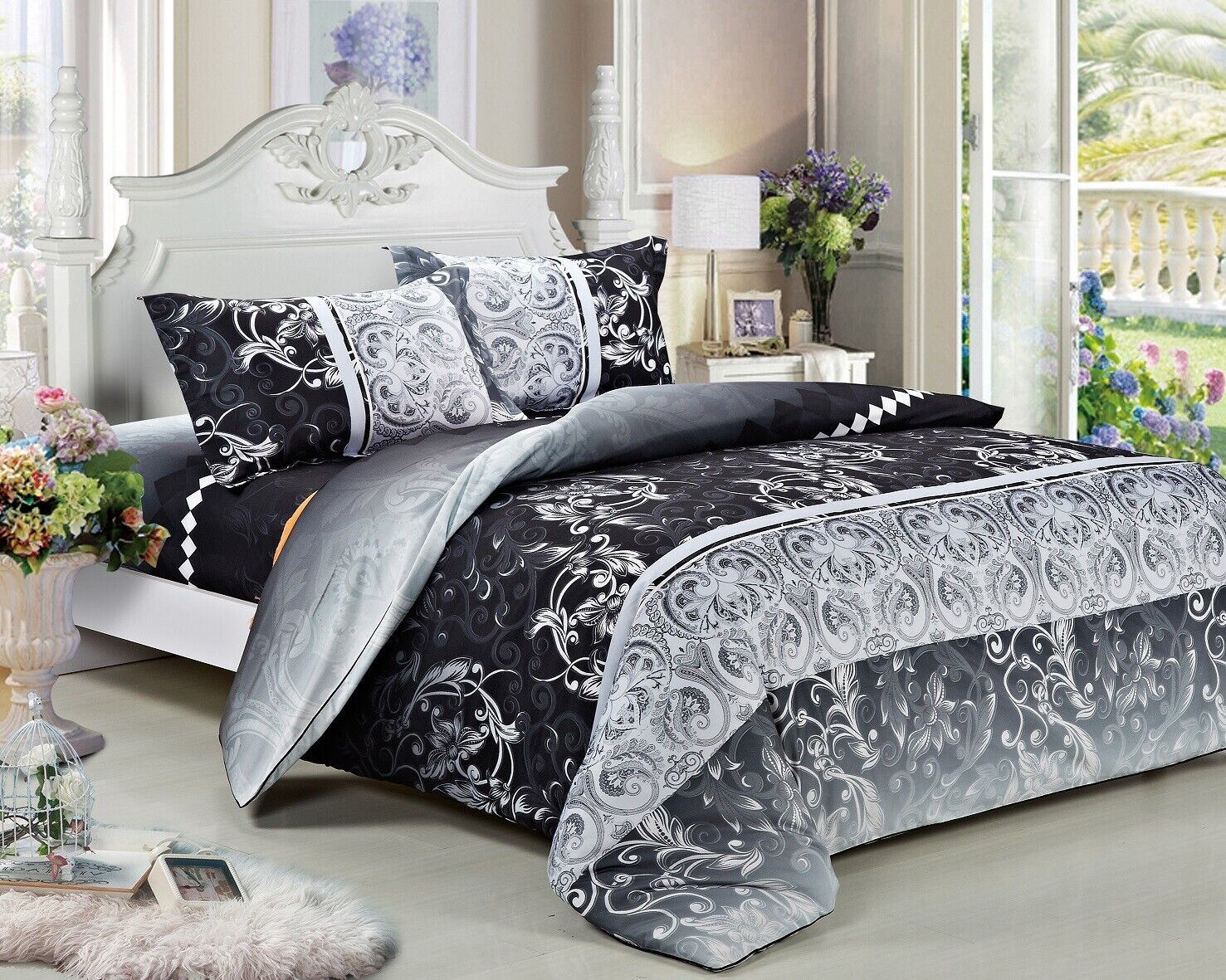 Black White Quilted Bedspread /& Pillow Shams Set Chinese Calligraphy Print
