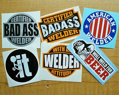 6 Funny Hard Hat Welding Helmet Stickers Welder Decals Weld For Beer Bad Ass