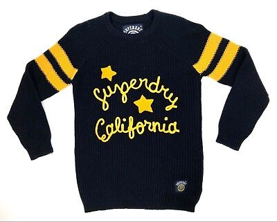 Superdry Cali Varsity Tunic Sweater Womens Size S Yellow Spellout Stars Chunky