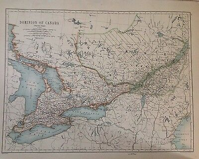 North America or Dominion of Canada (Western) Antique Map 1891 Large